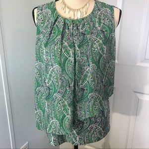Roz & Ali sleeveless blouse in green and blue